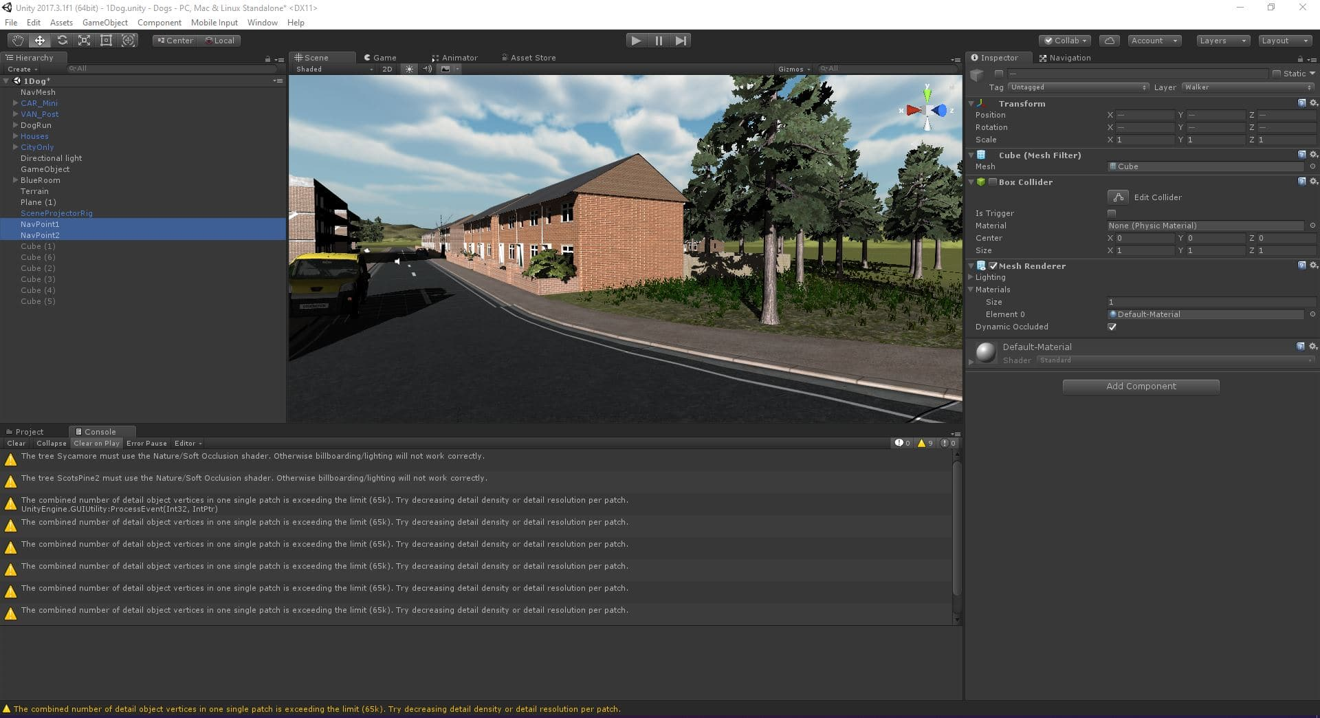 Screenshot of the Unity engine development tools open on a PC showing one of the Blue Room scenes.